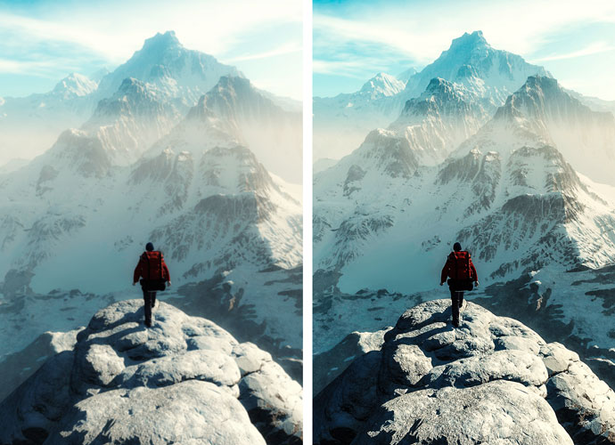 Image showing the comparison between a blurred photo of a mountain climber, with a mountain in the background, versus a crisp HD one.