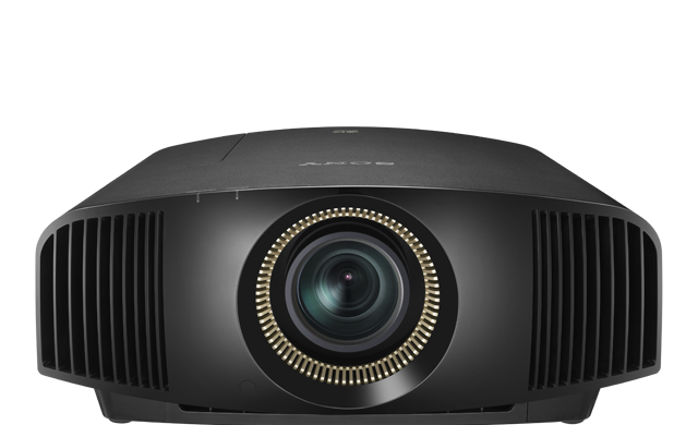 A frontal view of the VPL-VW570ES projector in black.