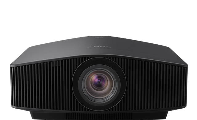 A frontal view of the VPL-VW870ES projector in black.