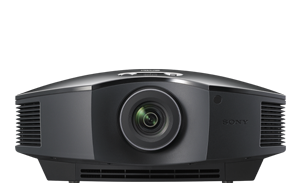 A frontal view of the VPL-HW65ES projector in black.