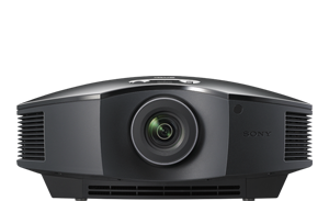 A frontal view of the VPL-HW45ES projector in black.