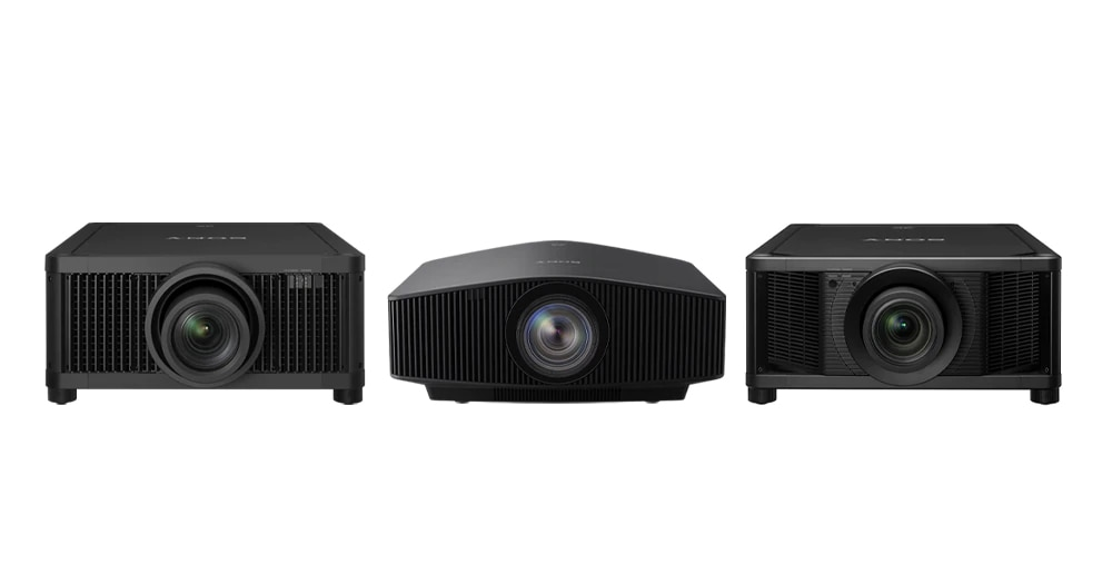 An image showing three of our simulation projector models along with an award badge for Best In Show at Infocomm 2019.