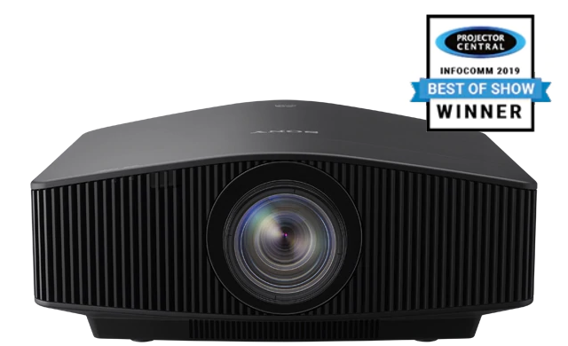 A face-on view of the VPL-GTZ240 projector with award logo.