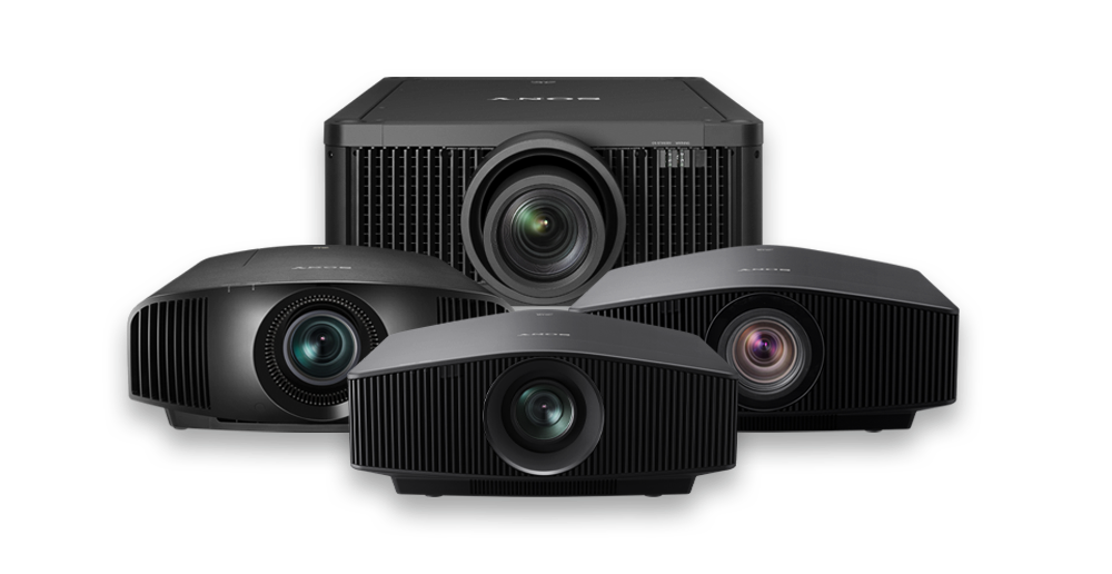 A montage of frontal images of our home cinema projector lineup.