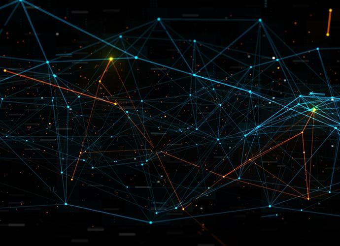 Lumières multicolores qui éclairent une grille bleue