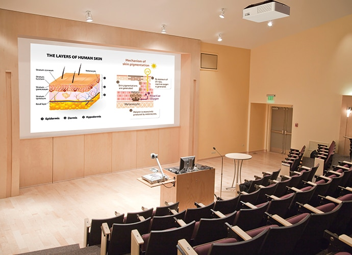 Empty lecture hall using the VPL-FHZ75 / VPL-FHZ70 to project annotated image of human skin layer