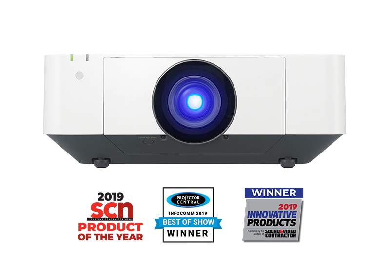 Front facing VPL-FHZ75 / VPL-FHZ70 projector with 2019 SCN product of the year, Infocomm 2019 best of show winner and 2019 innovative products winner award logos underneath