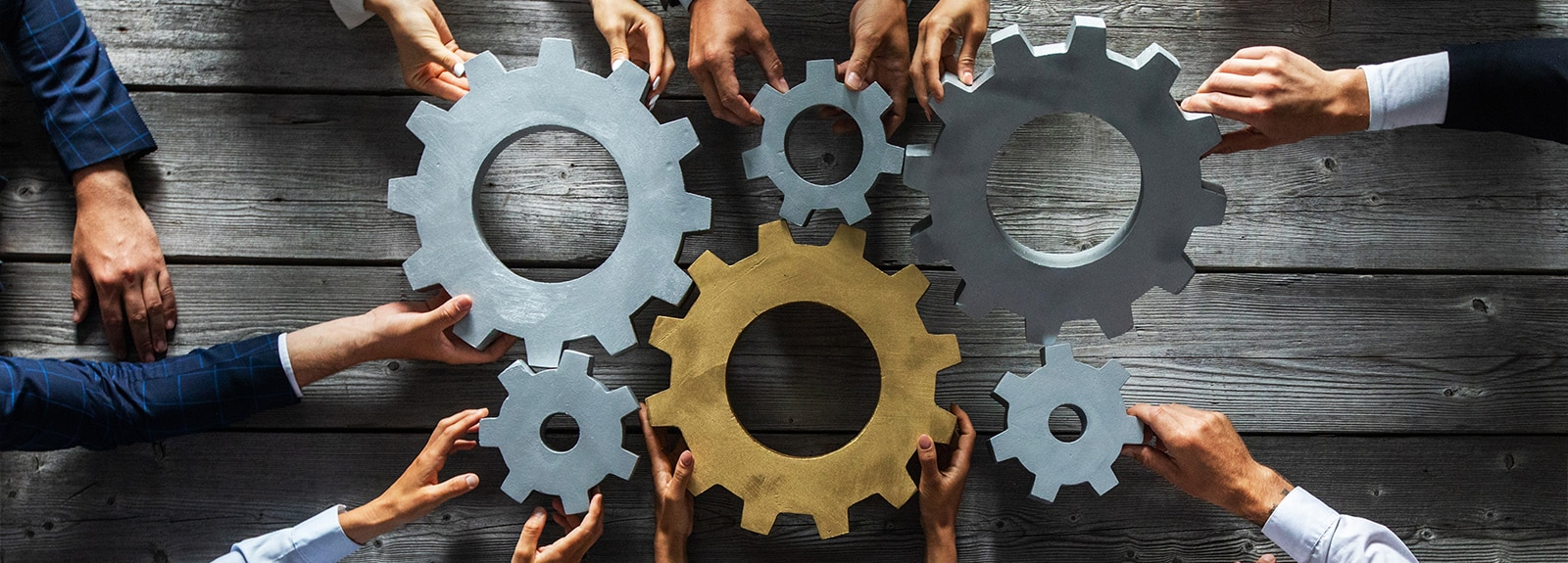 Cogs and gears being assembled together by multiple hands.
