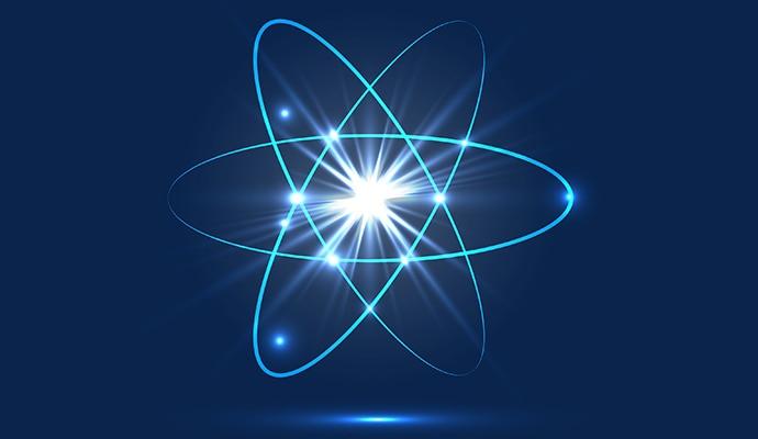 Eine Atomstruktur auf blauem Hintergrund