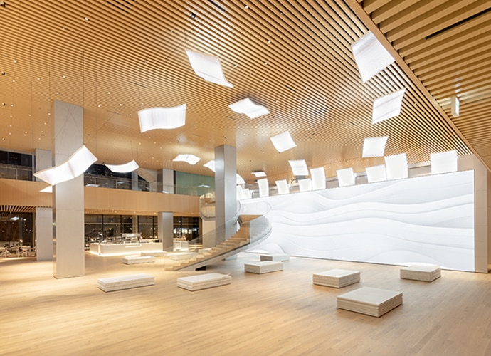 The foyer of the Shiseido Center, with a huge Crystal LED screen at one end