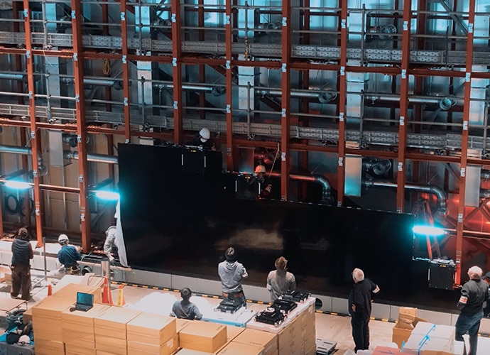 The Crystal LED screen under construction