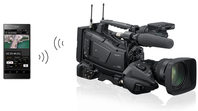 PXW-Z750 camcorder with Sony XPERIA phone