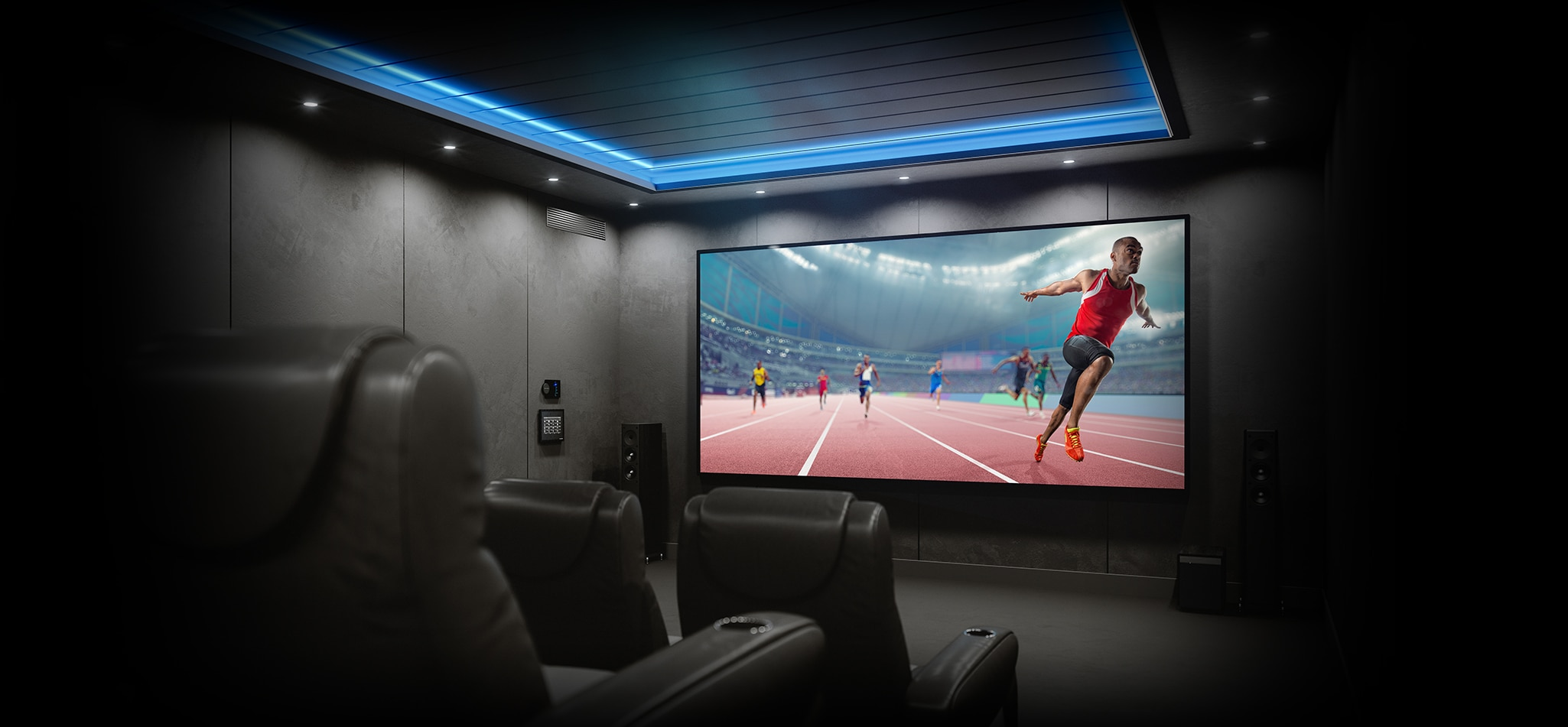 Image showing a home cinema with a projector showing a track race.