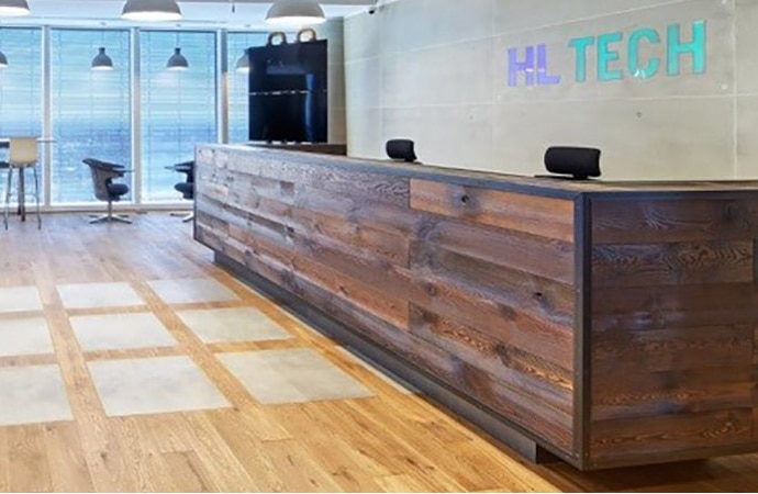 Interior of HL Tech's office, with a reception desk visible.