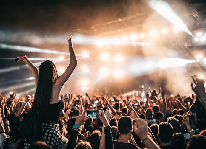 Concert scene with high intensity spotlights