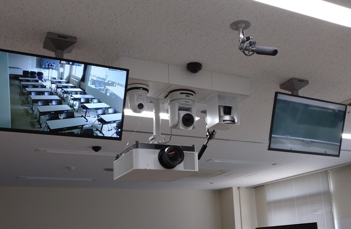 Close-up of the Sony technology installed at Prefectural University of Hiroshima, used to deliver an innovative remote learning solution. Products include projectors, remote cameras and Edge Analytics.