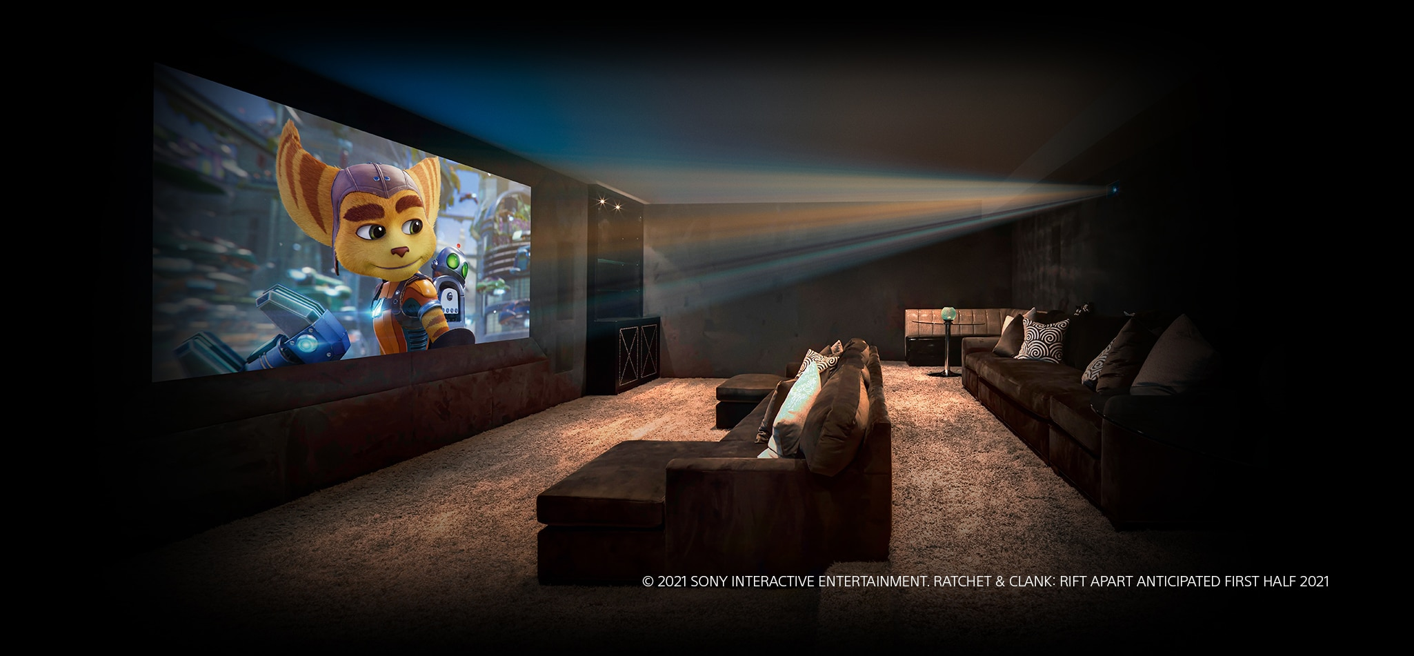 Image showing a home cinema with a projector showing Ratchet and Clank videogame