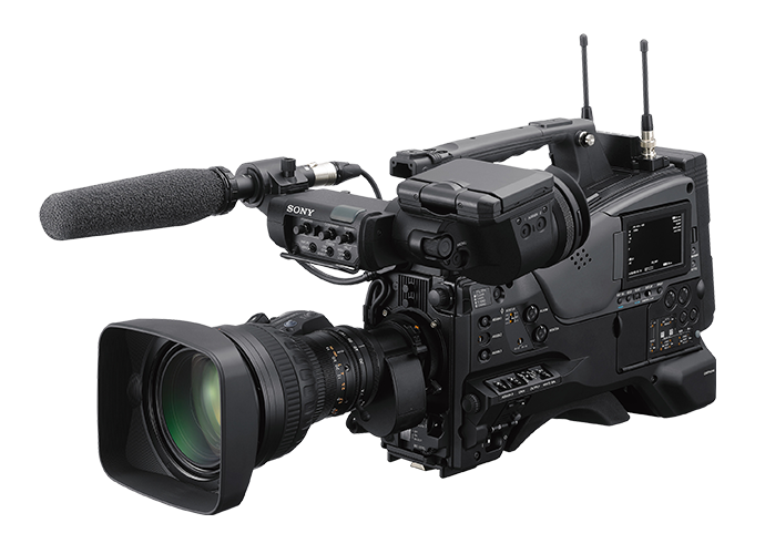 Three-quarter angle view of PXW-Z750 camcorder with DWX wireless audio