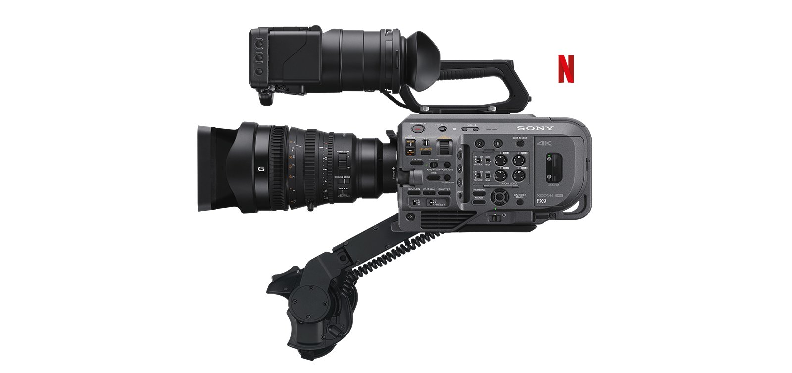 Vista lateral del camcorder Full Frame PXW-FX9 con el logotipo de Production Technology Alliance