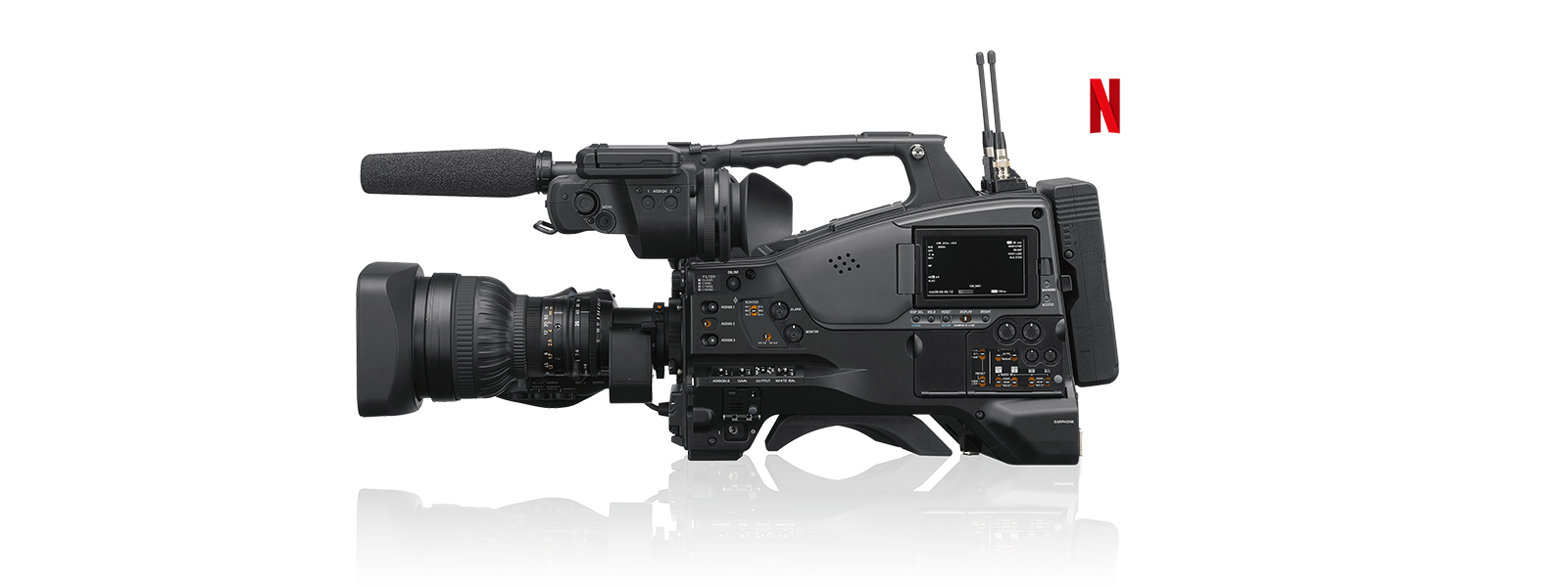 Filmadora PXW-Z750 com o logotipo da Netflix Post Technology Alliance