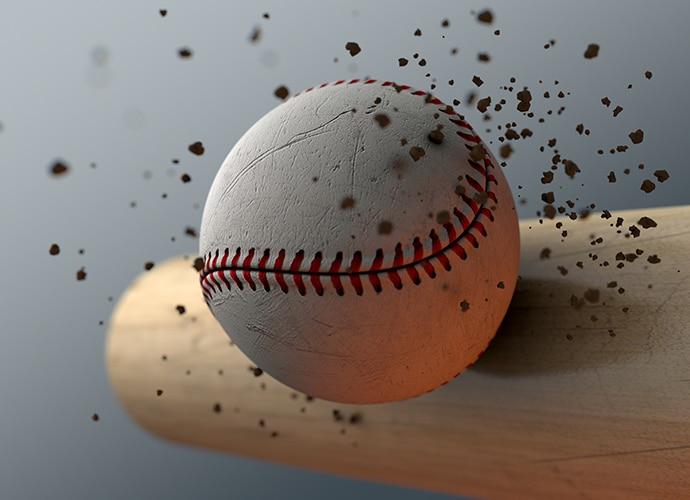 Baseball and bat illustrating high speed image capture