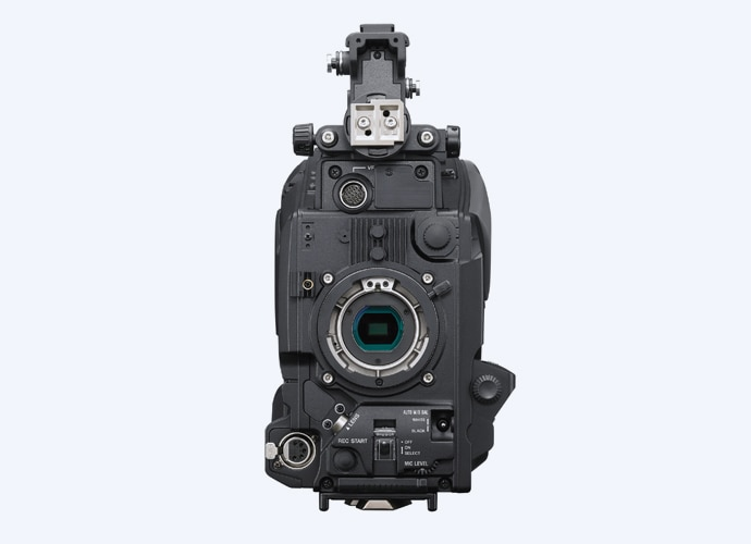 Front view of PXW-Z750 showing sensor block and B4 lens mount