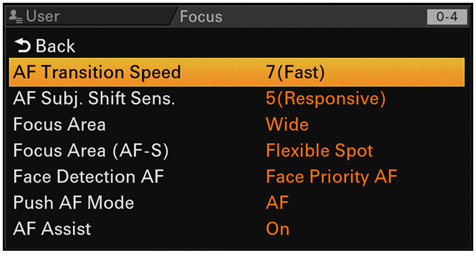 FX9 auto focus graphical user interface