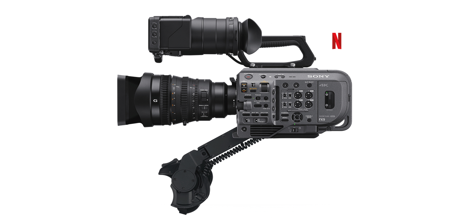 Side-view of PXW-FX9 full-frame camcorder with Post Technology Alliance logo