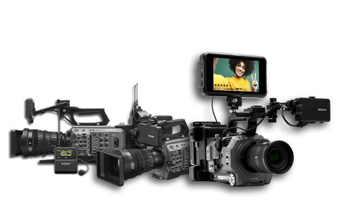 FX9 with professional audio kit, FX9 three-quarter view and FX9 with ATOMOS.