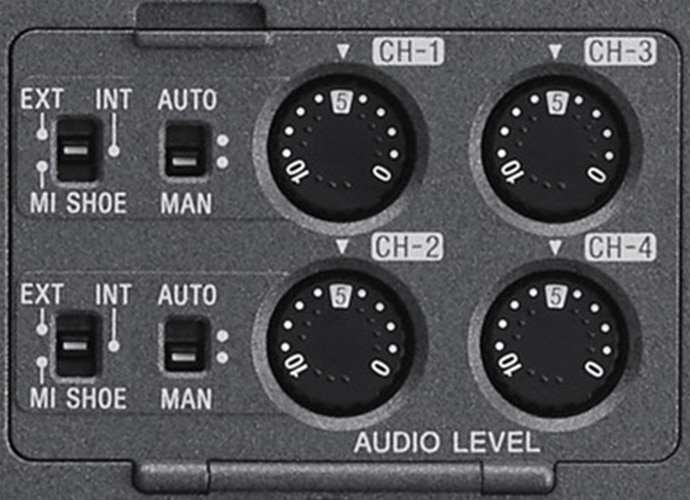 Close-up of FX9 4-channel audio input