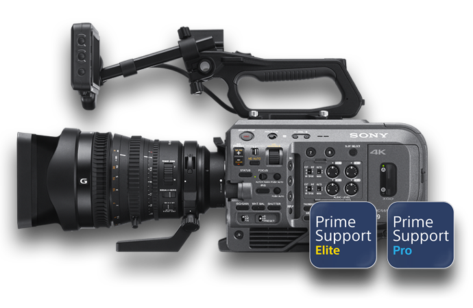Side-view of PXW-FX9 with PrimeSupport Elite and PrimeSupport Pro logos