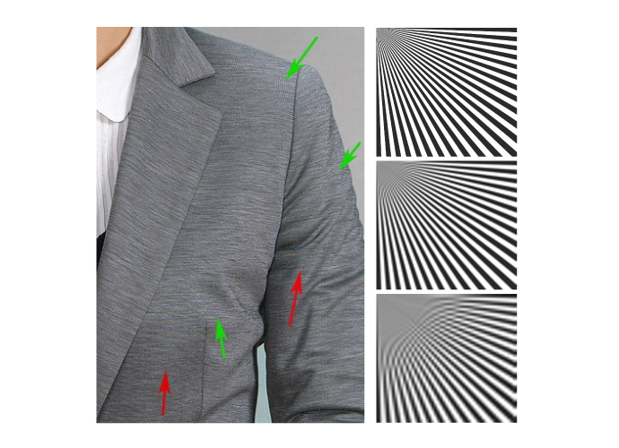 Diagrams illustrating Aliasing Noise with black-and-white lines and a creased jacket photo showing effect with real image.