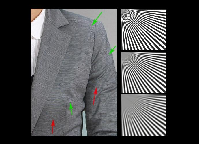 """Diagramas que ilustran el """"ruido de aliasing"""" con líneas en blanco y negro, y una fotografía de un saco arrugado que muestra el efecto con una imagen real."""