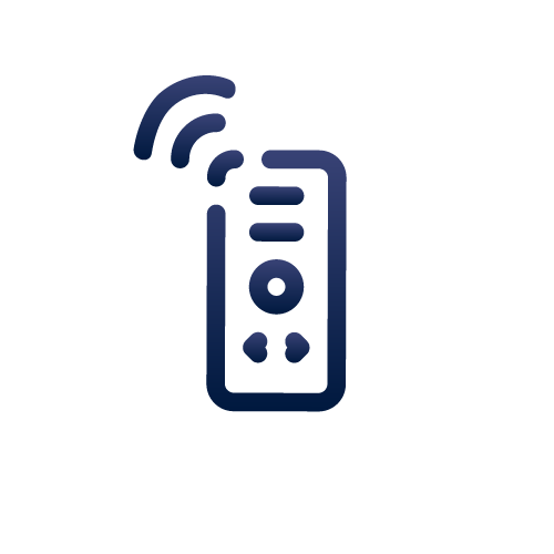 Remote production icon, mobile with waves above it