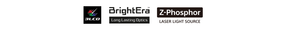 Logo banner showing features of the projector including 3LCD, BrightEra Long Lasting Optics and Z-Phosphor Laser Light Source