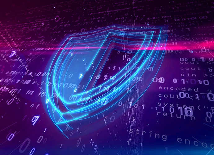 A graphic of a shield made of light, over a background of ones and zeroes, representing digital security.