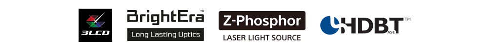 Logo banner showing features of the projector including 3LCD, BrightEra Long Lasting Optics, Z-Phosphor Laser Light Source and HDBaseT