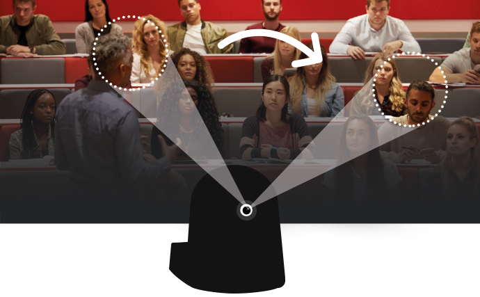 Illustrative image of how a camera can switch focus from person to person in the audience