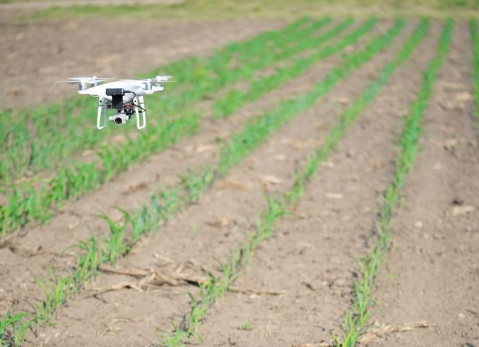 Drone over field