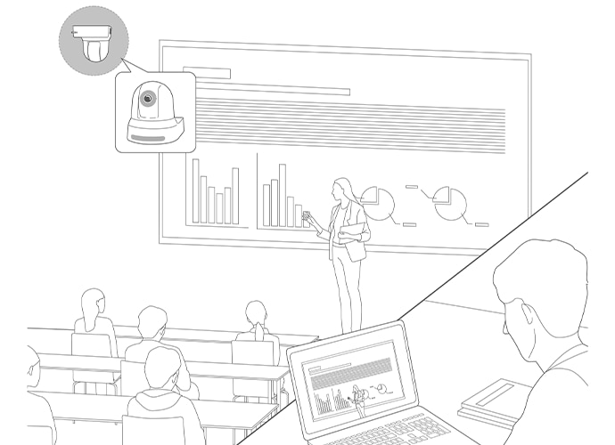 Illustration of lecture room and camera in position