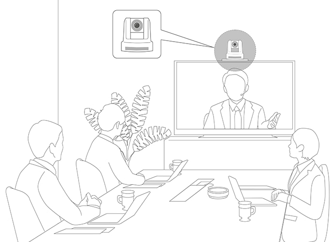 Illustration of meeting room and camera in position