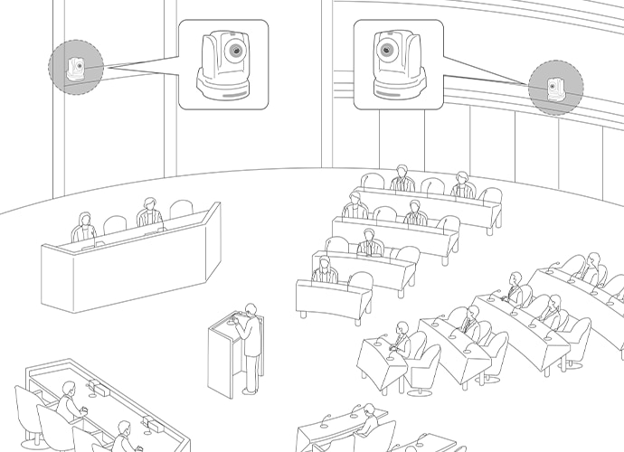 Illustration of government debate and camera in position