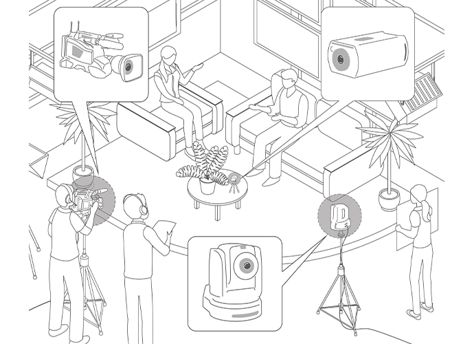 Illustration of small TV studio and camera in position