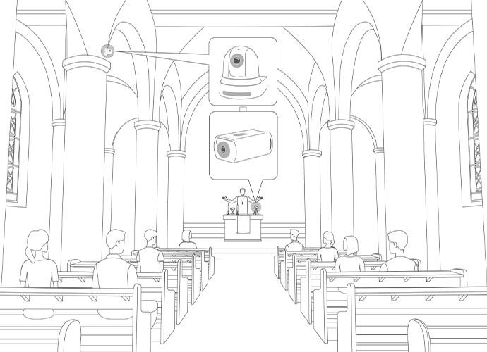 Illustration of faith center and camera in position