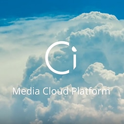 Ci Media Cloud Services logo in front of a white cloud background.