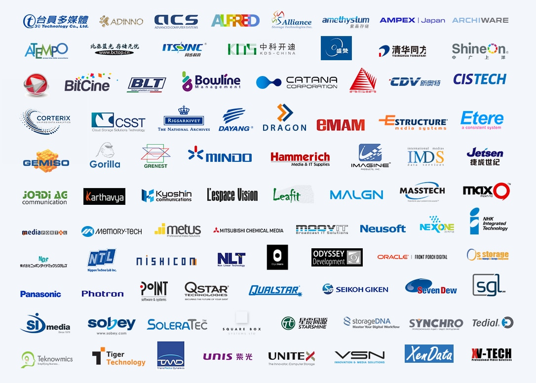 An image with all of the logos of the company that Sony works closely with in data storage and archiving.