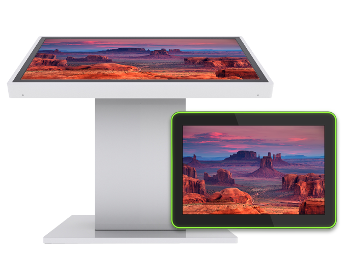 Screensavers showing on TEOS tablets and a professional display mounted on a specialized totem