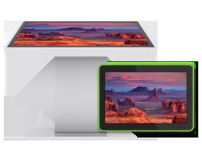 Bildschirmschoner, die auf TEOS-Tablets angezeigt werden, und ein professionelles Display, das auf einem speziellen Totem montiert ist