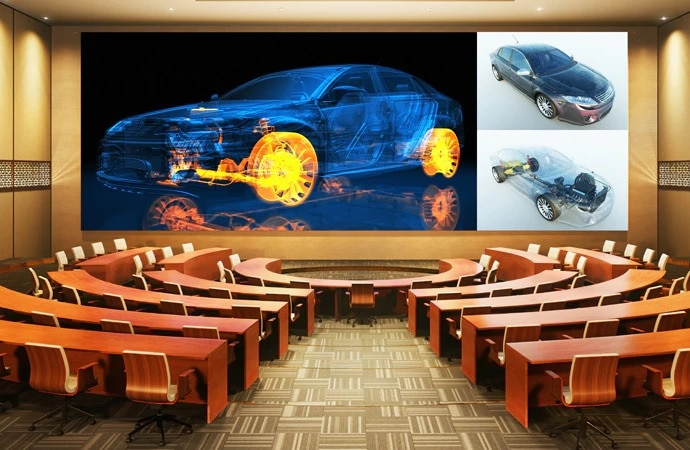 An image of Crystal LED in a corporate boardroom showing a diagram of a car.