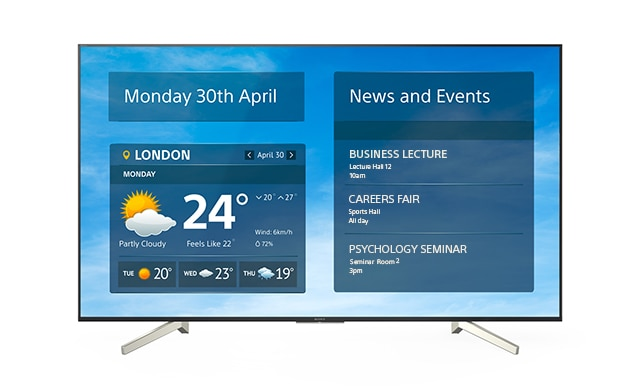 Image showing a FW-49BZ35F BRAVIA screen with digital signage showing scheduled university events and lectures.